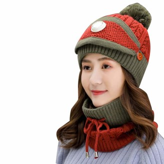 Lulupu Lulupi 3 in 1 Womens Winter Scarf Set Women Warm Thickened Knitted Hat Fuzzy Beanie Face Cover Outdoor Sports