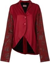 Romeo Gigli Pre Owned oriental printed sleeve jacket