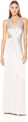 Halston Women's Sleeveless Deep V Neck Draped Satin Gown
