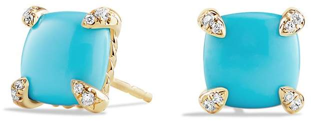 David Yurman Ch'telaine Earrings with Turquoise and Diamonds in 18K Gold