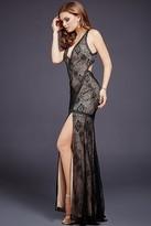 Jovani Long Sleeveless Lace Dress 33939