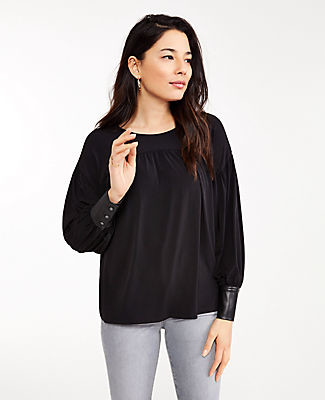 Ann Taylor Faux Leather Cuff Curved Yoke Top