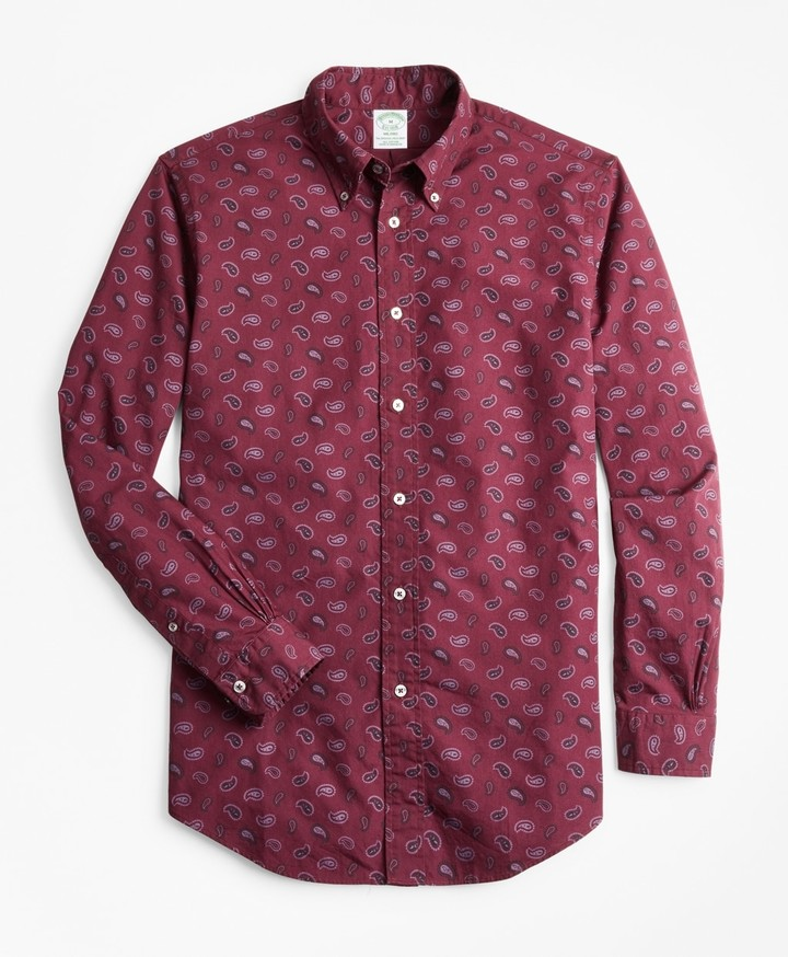 Brooks Brothers Milano Fit Paisley Print Sport Shirt