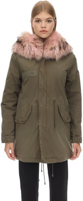 Mr & Mrs Italy Midi Cotton Canvas Parka W/ Fur Detail