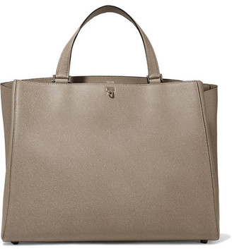 Valextra Brera Large Textured-leather Tote - Taupe
