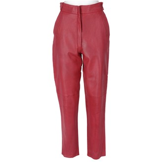 Gianni Versace Red Leather Trousers for Women Vintage