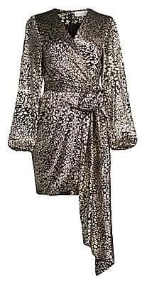 Rebecca Vallance Women's Vienna Metallic Leopard Print Mini Dress