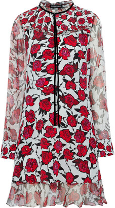Markus Lupfer Alana Metallic Georgette-trimmed Floral-print Silk Dress