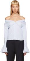 Jacquemus Blue & White Off-the-Shoulder Shirt