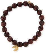 Sydney Evan 8mm Faceted Red Garnet Beaded Bracelet with 14k Gold Diamond Fortune Cookie Charm