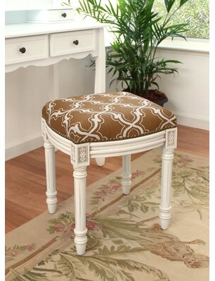 Charlton Home Polizzi Trellis Linen Upholstered Vanity Stool Color: Caramel