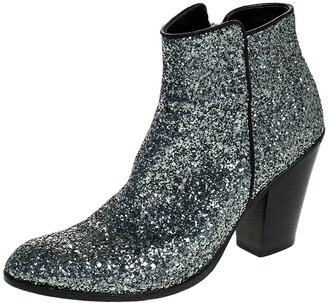 Giuseppe Zanotti Silver Glitter Mid Heel Ankle Boots Size 36.5