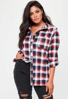 Missguided Curve Red Checked Studded Pocket Shirt, Red