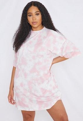 Missguided Plus Size Pink Tie Dye T Shirt Dress