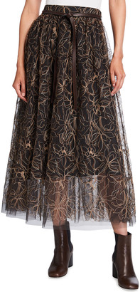 Brunello Cucinelli Floral Embroidered Tulle Skirt with Leather Belt