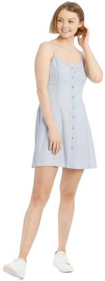 Miss Shop Linen Blend Button Detail Dress - Light Blue Lt