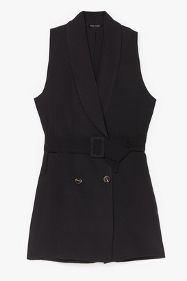 Nasty Gal Womens Stand Tall Tailored Belted Playsuit - Black - S
