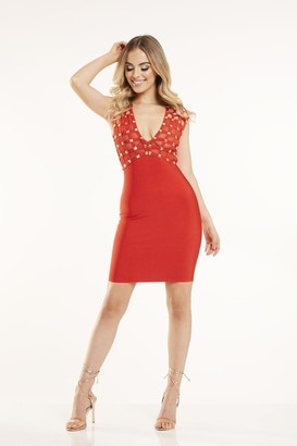Candypants Outlet Red Studded Bodycon Dress