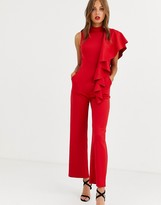 Chi Chi London high neck scuba jumpsuit with frill detail in red