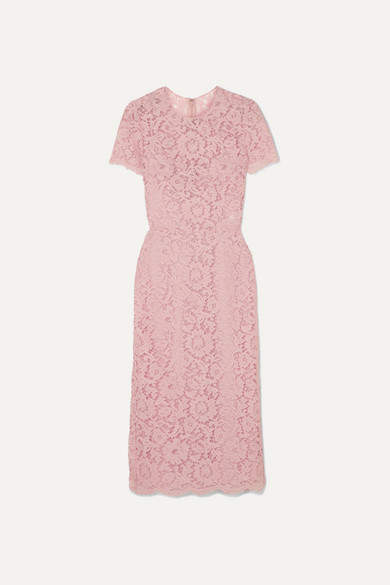 Valentino Guipure Lace Midi Dress - Blush