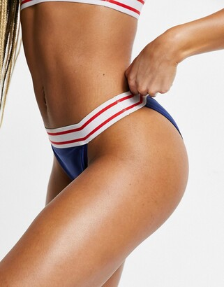 Brave Soul bikini bottoms with contrast tape in navy