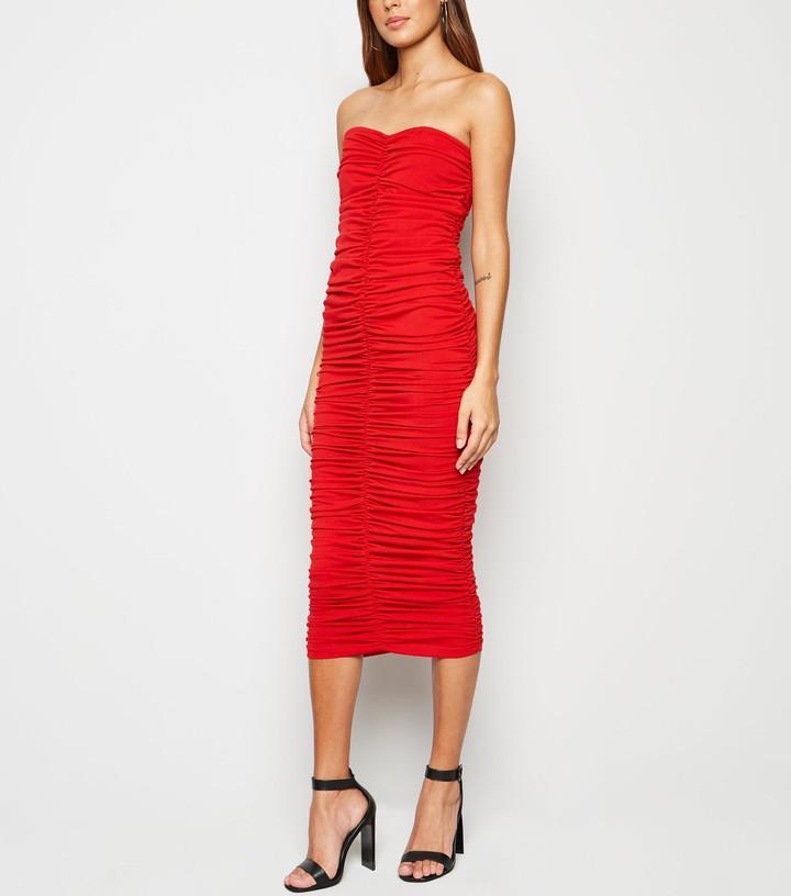 New Look AX Paris Ruched Bandeau Midi Dress