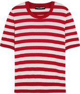 Dolce & Gabbana Striped Cashmere And Silk-blend Top - Red