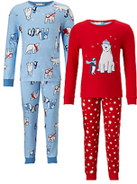 John Lewis Children's Polar Bear Pyjamas, Pack of 2, Red/Blue