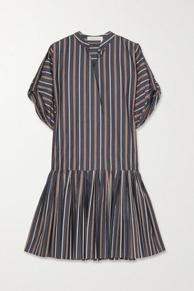 See by Chloe Pleated Striped Cotton-poplin Mini Dress - Blue