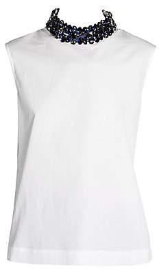 Marni Women's Brush Bejeweled Collar Poplin Tank Top