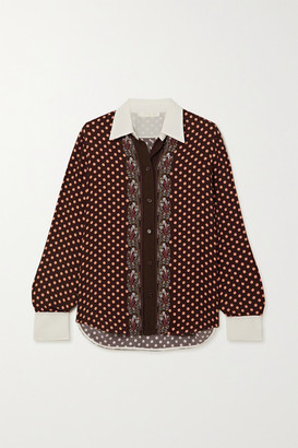 Chloé Printed Crepe Shirt - Dark denim