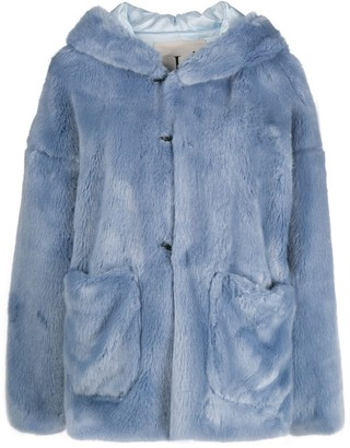 L'Autre Chose hooded faux fur jacket