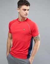 Lyle & Scott Fitness Kelly T-Shirt with Contrast Mesh Panel Detail in Red