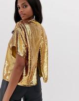 Asos Design DESIGN embellished sequin tshirt with open back