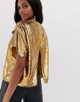 Asos Design DESIGN embellished sequin tshirt with open back-Gold