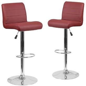 Orren Ellis Nusbaum Adjustable Height Swivel Bar Stool Upholstery: Burgundy