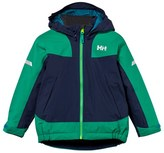 Helly Hansen Navy and Green Kids Legacy Insulated Ski Jacket