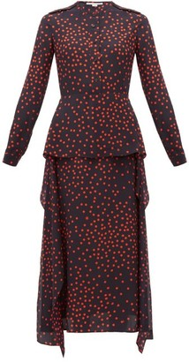 Stella McCartney Polka Dot-print Draped-panel Silk Dress - Womens - Navy
