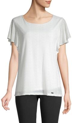 Calvin Klein Collection Striped Flutter Sleeve T-Shirt