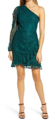 WAYF x BFF Jess One-Shoulder Lace Minidress