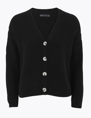 Marks and Spencer Pure Cotton Textured Relaxed Cardigan