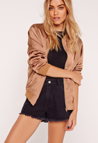 Missguided Petite Exclusive Satin Bomber Jacket Rose Gold