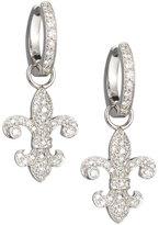 Penny Preville 18k Diamond Fleur-de-Lis Huggie Earrings