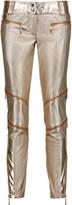 Just Cavalli Metallic faux textured-leather skinny pants