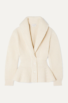 Alexander McQueen Ribbed Wool And Cashmere-blend Peplum Cardigan - Ivory