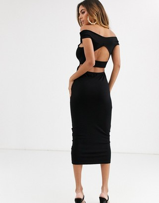 ASOS DESIGN going out bardot cut out back detail midi dress
