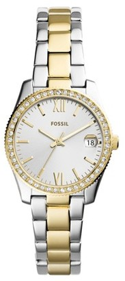 Fossil Scarlette Mini Three-Hand Date Two-Tone Stainless Steel Watch Jewelry