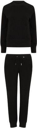 Fabrica Fashion Designer Ladies Tracksuit Skinny Fit Stretch Body Fit Zipped Top and Joggers with Zipped Pockets (Black Small)