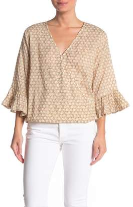 Love Stitch Clipped Jacquard Ruffle Bell Sleeve Blouse