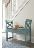 Tucker Wood Storage Bench August Grove Color: Blue